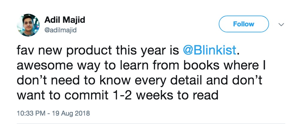 twitter comment about summarizing books with blinkist
